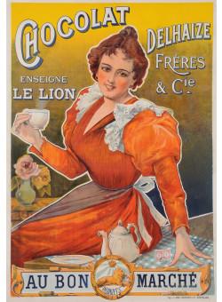 "Original Vintage French Poster Advertising ""Chocolat Dehaize"" ca. 1900"