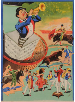 Original Vintage French Poster Advertising a Circus by Donat  - BEFORE LETTERS