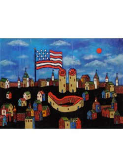 "Original Acrylic on Canvas Russian Painting ""American Flag and Buttons"" by Rykov ca. 1999"