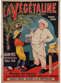 """Original Vintage French Food Poster for """"Vegetaline"""" African by Oge ca. 1900"""