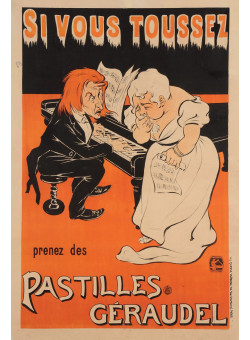 """Original Vintage French Poster for """"Si Vous Toussez - Pastilles Geroudel"""" by Oge"""