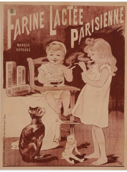 """Original Vintage French Poster for """"Farine Lactee Parisienne"""" by Oge ca. 1896"""