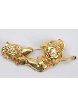 Costume Fashion Jewellery Gold-tone Brooch Pin Signed ALVAR 100/225