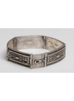 "Ethnic 5 Links Bracelet Artisan Israeli 935 Silver ""Made in Palestine"""