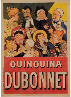 "Original Vintage French Alcohol Poster for ""Quinquina Dubonnet"" by Oge ca. 1900"
