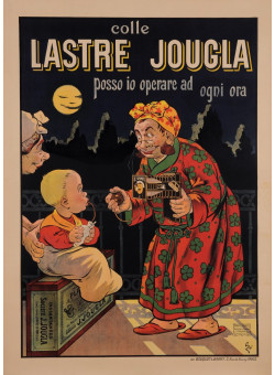 "Original Vintage Italian Poster for ""Lastre Jougla"" Plaques Cameras Plates by Oge ca. 1909"