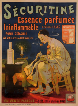 """Original Vintage French Poster for """"Securitine Essence Perfumee"""" by Oge ca. 1900"""