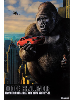 """Original American Poster for King Kong """"Dodge Challenger"""" New York Auto Show 2000's"""