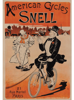 """Original Vintage French Poster """"American Cycles Snell"""" Oge ca. 1900"""
