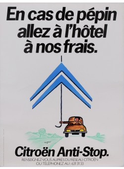 """Original Vintage French Poster for """"Citroen Anti-Stop"""" Cars by Savignac 1980's"""