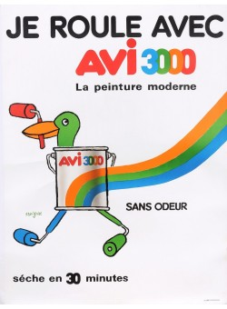 "Original Vintage French Poster for ""AVI 3000"" Paint by Savignac 1980's"