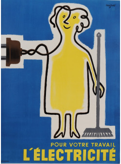 """Original French Poster Advertising """"L'Electricite"""" by Savignac 1952"""