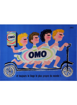 "Original French Poster Advertising ""OMO"" Detergrent by Herve Morvan 1950's"