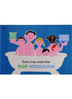 "Original Vintage French Poster Advertising ""Dop Monsavon"" by Savignac 1954"