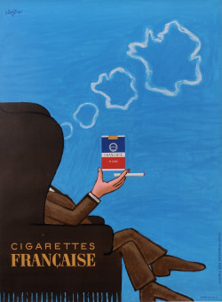 """Original Vintage French Poster for """"Cigarettes Francaise"""" by Savignac 1965"""