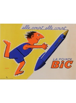 "Original Vintage French Poster for ""BIC"" Pens by Savignac 1951"