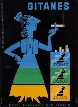"""Original Vintage Small French Poster for """"Gitanes"""" Cigarettes by Savignac 1953"""