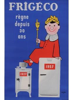 "Original Vintage French Poster for ""Frigeco"" Refrigerators by Savignac 1957"