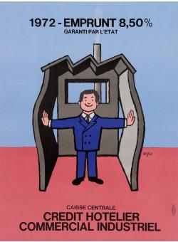 "Original Vintage French Poster for ""Emprunt Credit Hotelier"" by Savignac 1972"