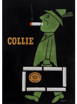 """Original French Poster Advertising """"Cigarettes Collie"""" by Savignac 1952"""
