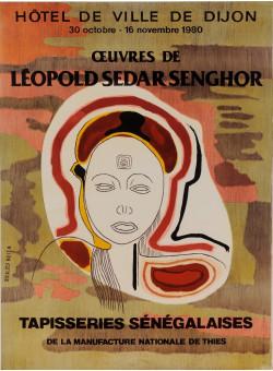 """Original Vintage French Exhibition Poster """"Tappisseries Sengalaises"""" L.S.Senghor"""