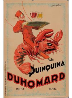 "Original Vintage French Alcohol Poster for ""Quinquina Duhomard"" by Dorfi 1920's"