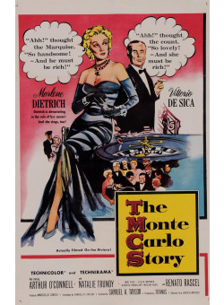 """Original Vintage French Poster for """"The Monte Carlo Story"""" Dietrich De Sica 1970's"""