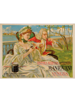 "Original Vintage Italian Alcohol Poster Advertising ""Mantovani Venezia"" Aperitif"