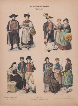 Set of 9 Original German Vintage Fashion Posters Traditional Outfits ca. 1890