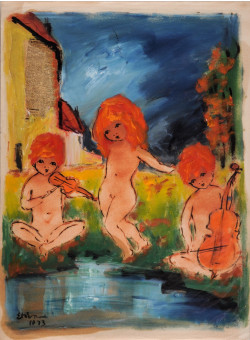 "Original Collage and Oil on Paper ""Kids Playing by the Lake"" Signed 1973"