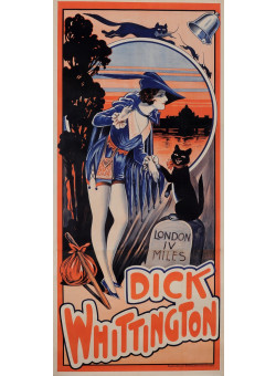 """Original Vintage OVERSIZE 2 Parts French Poster for """"Dick Whittington"""" Cat ca. 1900"""