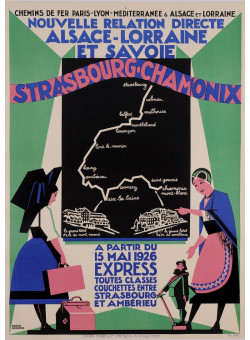"Original Vintage French Travel Poster ""STRASBOURG-CHAMONIX"" R. BRODERS"