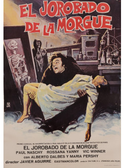 "Original Vintage Spanish Movie Poster for ""EL JOROBADO DE LA MORGUE"" by MONTALBAN 1973"