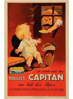 "Original Vintage French Poster for ""Nouilles Capitan"" by Jacques SAIGNIER 1930"