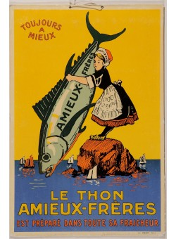 "Original Vintage French Cardboard Poster for ""Le Thon Amieux-Freres"" ca. 1900"