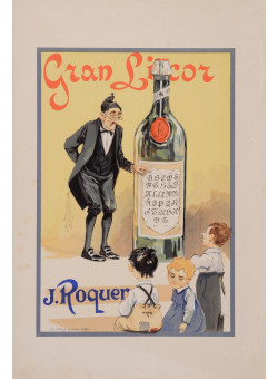 "Original Vintage French Alcohol Poster Advertising ""Gran Licor J. Roquer"" 1920's"