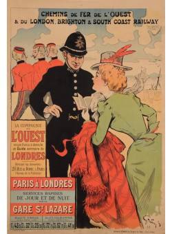 "Original Vintage French Travel Poster for ""Paris a Londres"" by Grun 1899"