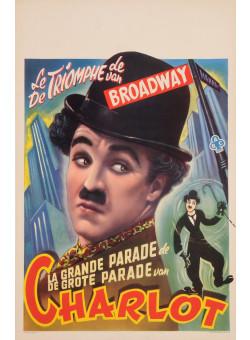 "Original  Charlie Chaplin Movie Poster ""La grande Parade"" de Charlot 1948"
