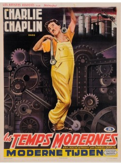 "Original  Charlie Chaplin Movie Poster "" Les Temps Modernes"" 1936"