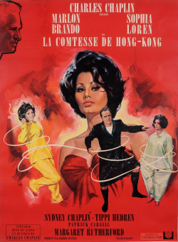"Original French Charlie Chaplin Movie Poster for ""La Comtesse de Hong-Kong"" 1967"
