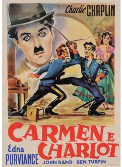 Original Charlie Chaplin Italian Movie Poster Carmen E Charlot