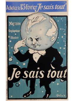 "Original Vintage French Poster ""Je Saia Tout"" by Grun. 1905 -Version"