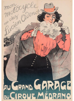 "Original Vintage French Poster ""Au Grand Garage du Circque Medrano"" by Grun 1899"