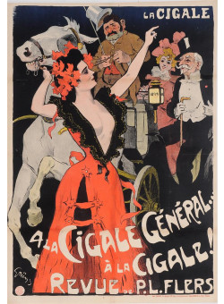 "Original Vintage French Poster ""La Cigale - A La Cigale, General"" by Grun 1899"
