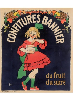 "Original Vintage French Poster ""Confitures Bannier"" by Grun 1910"