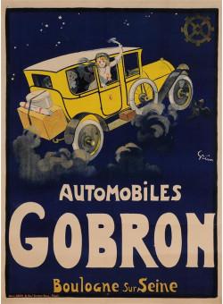 "Original Vintage French Poster ""Automobiles Gobron"" by Grun ca. 1900"