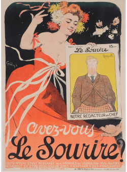 "Original Vintage French Poster ""Le Sourire"" by Grun 1905"