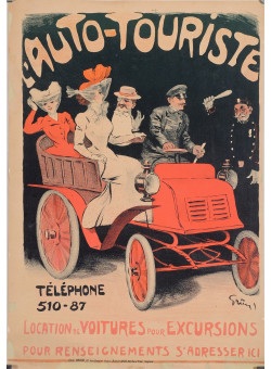 "RARE - Original Vintage French Poster ""L'Auto-Touriste"" by Grun  - Before 1901"
