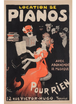"Original Vintage French Poster ""Trouville - Location de Pianos"" by Grun"