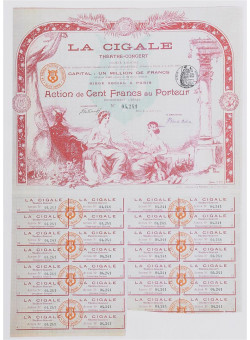 "Original Vintage French Poster ""La Cigale"" Multiple-Entry Ticket by Grun ca. 1900"